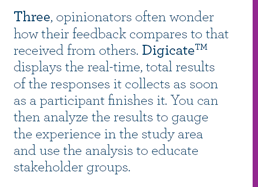 Three, opinionators often wonder how their feedback compares to that received from others. Digicate displays the real-time, total results of the responses it collects as soon as a participant finishes it. You can then analyze the results to gauge the experience in the study area and use the analysis to educate stakeholder groups.
